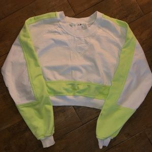 Urban outfitters neon green crop sweatshirt